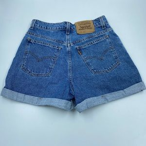 Levi's High Waist Cuffed Denim Shorts Orange Tab